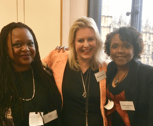 Mims Davies MP with Eska (L) and Carleen Anderson