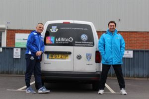 Breeze Van centre Southampton l r Eastleigh FC Volkswagen Commercial Vehicle kit van with first team manager Andy Hessenthaler and physio Andy Cook. 01c