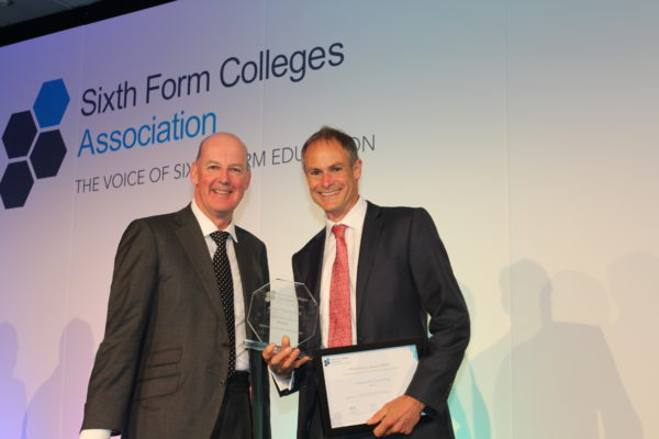 Barton Peveril Principal Jonathan Prest right collecting the SFCA Award for Independent Learning 3