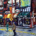 Chinatown oil on wood