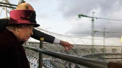 Her Majesty surveys the site. Photo: Reuters