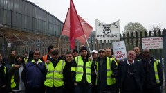 Striking bus workers on picket line in Bow Photo: Matt