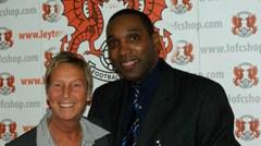 Tower Hamlets' Derek Bennett next to the Josie Clifford London FA Development Manager