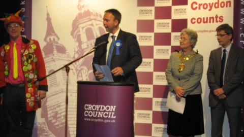 Gavin Barwell delivering his acceptance speech after the 2010 general election. Photo: Rebecca Lindsay
