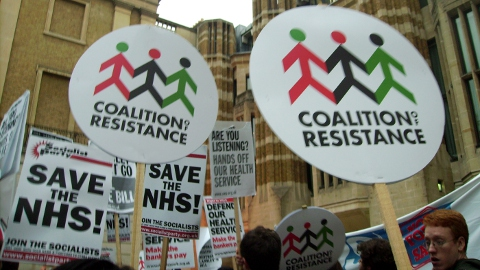 March Save The NHS demonstrators outside Whitehall