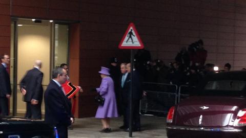 The Queen arrives. Pic: Nazim Ahmad