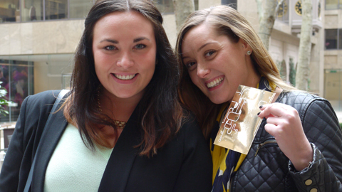 Rachael Meeks and Charlotte Lostak with their golden ticket. Pic: Courtney Greatrex.