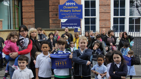 Local parents and students at Chisenhale Primary School Pic: Keeley Naylor