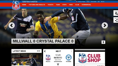 Crystal Palace FC website reporting nil nil draw in south London derby
