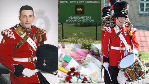 Family of Drummer Lee Rigby visit Woolwich to leave wreaths, messages and make their own tribute.