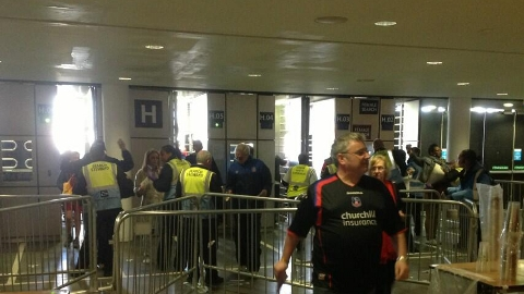 Opening of turnstiles. First fan in a Palace fan. Pic: npower Championship