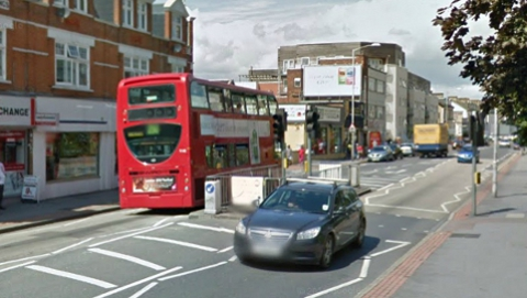Junction of Broad Green Avenue with London Road. Not bus involved. Pic: Google