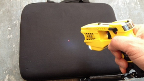 Taser with red aim button. Pic: Saskia Black