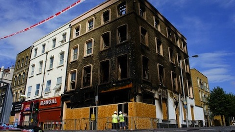 A Croydon shop destroyed by arson during the riots of August 2011. Photo: © Copyright Peter Trimming and licensed for reuse under this Creative Commons Licence.