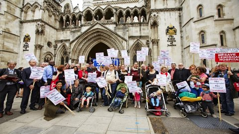 Campaigners at High Court. Pic: Simon Way