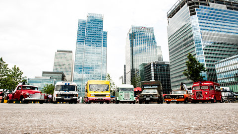 Convoy at Canary Wharf. Pics by Thomas Bowles