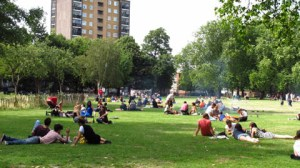 Sun-lovers enjoy the barbecue area in London Fields park  Photo: Sofia Almiroty