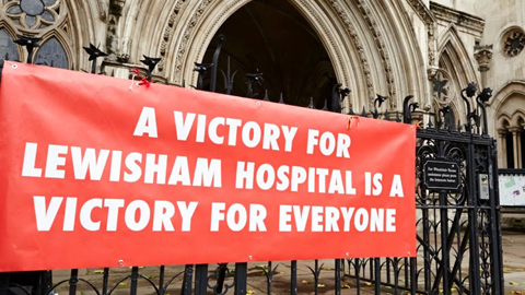 A banner outside the Court of Appeal today. Pic: Simon Way