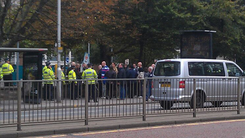 BNP protesters arrive to Lunar House. Pic: Courtney Greatrex