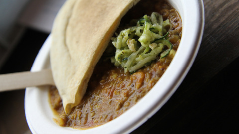 Main course: Guajarati rasoi (mung bean curry) accompanied by raw courgette noodles at the Russet. Pic: Pascal Ebner