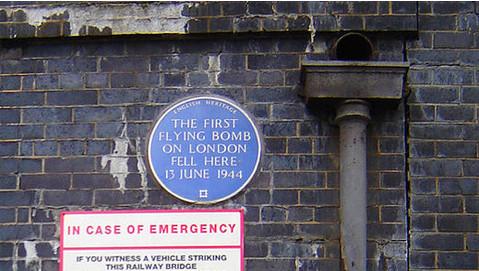 The flying bomb plaque under the railway bridge under Grove Road. Pic: Tarquin Binary.