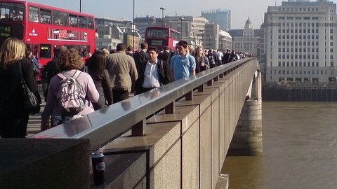 Commuters on their way to work on London Bridge. Pic- RichTea