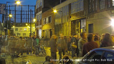 Late night art opening in Vyner Street. Pic: Bob Bob