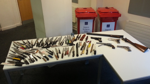 Weapons collected in Hackney. Pic: Met Police