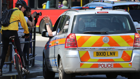 Police stop cyclists and lorries in Tower Hamlets. Pic: Ken Jon Bro