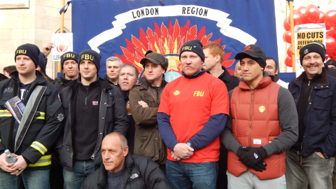 Firefighters protest against cuts to rescue services  pic: Hajera Blagg