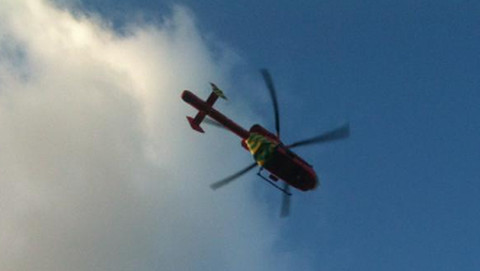 The air ambulance leaves the scene. Pic: Emma Finamore