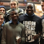 Real ale enthusiasts and brewers from London Fields Brewery Pic: Emma Finamore