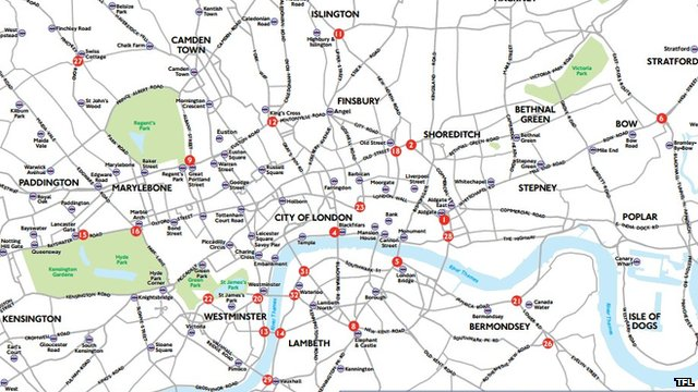 Map of targeted intersections. Pic: TfL