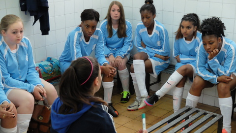 Listening to an inspiring half-time team talk Pic: Hackney Laces