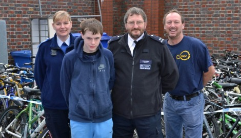 PCSO Lynn Peck, Recycle participant Tommy, PC Mark Acott and Streets for Growth founder Darren Way Pic: Met Police