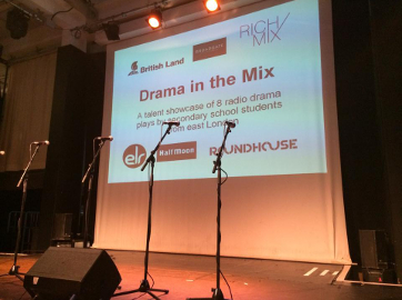 The stage at Drama in the Mix, hosted by Rich Mix Creative Learning.