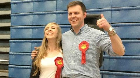 The happy victors. Jon Burke and Caroline Selman win Woodberry Down. Photo: Weidong Lin