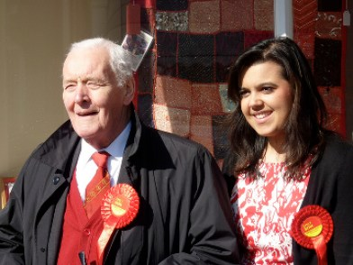 Emily Benn with Grandfather Tony Benn 2010 Pic: Labour