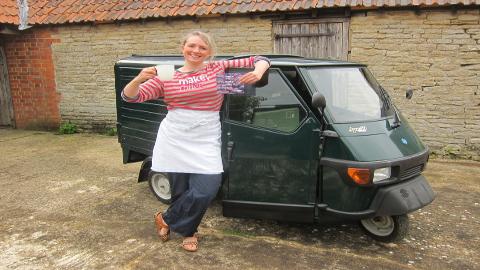 Olivia Abbat with her make coffee Piagio Van