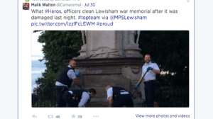 The Lewisham police was praised on Twitter after cleaning up.