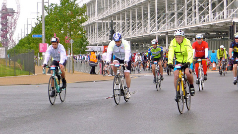 Riders leaving the Olympic Park at the start of RideLondon sportive. Pic: Martin Deutsch