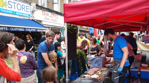 Crowds were kept well fed at the second Chatsworth Road Festival Pic: Kajal Odedra