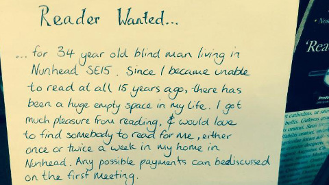 Andrew Bailey posted an advert asking people to read to him. Pic: Twitter
