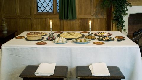 A depiction of a festively decorated dinner table in 1630. Pic: Jayne Lloyd