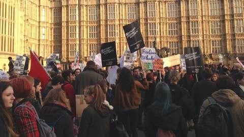 Protestors outside Parliament. Pic: Olivia Blair