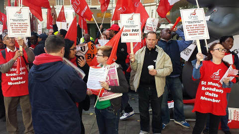 St Mungo's Strike. Pic: Unite Housing Workers Branch