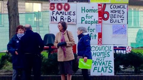 Campaigners outside Lewisham Town Hall. Pic: Hannah Calder