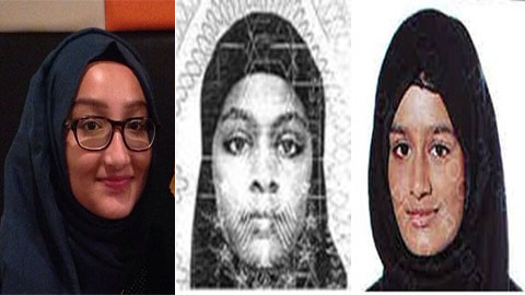 Left to right: Kadiza Sultana,  Amira Abase and Shamima Belgum. Pic: Metropolitan Police