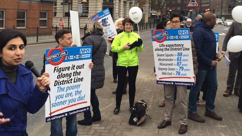 Patients and GPs have protested against the NHS funding cuts that could lead to the closure of The Limehouse Practice Pic: Keep Our NHS Public campaign