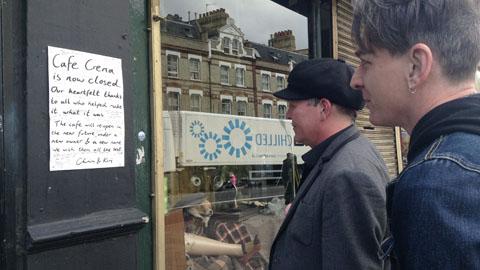 Patrons read Café Crema closure notice